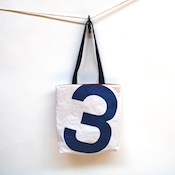 Blue Number 3 recycled sail cloth tote