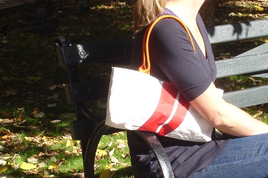Red stripe recycled sail purse