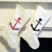 Anchor recycled Sail holiday stockings